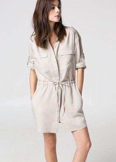 Drawstring shirt dress
