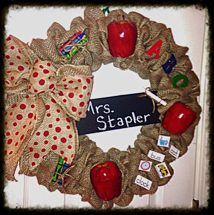 Teacher door wreath
