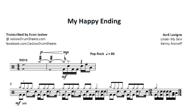 "Drum tab sheet music transcription for ""My Happy Ending"" by Avril Lavigne. Taken from the 2004 album Under My Skin. Notation key included. Pop/Rock. Difficulty 4/5. #drums #drumsheetmusic #avrillavigne"
