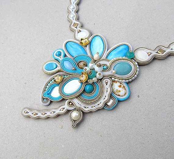 High Fashion Bridal Necklace Azure Gray Soutache by StudioGianna