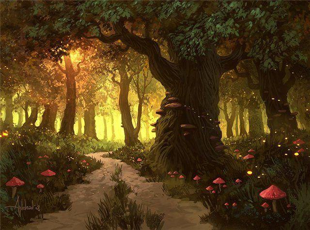 Картинки волшебный лес (35 фото) • Прикольные картинки и юмор | Лес  иллюстрация, Волшебный лес, Фантазия лес