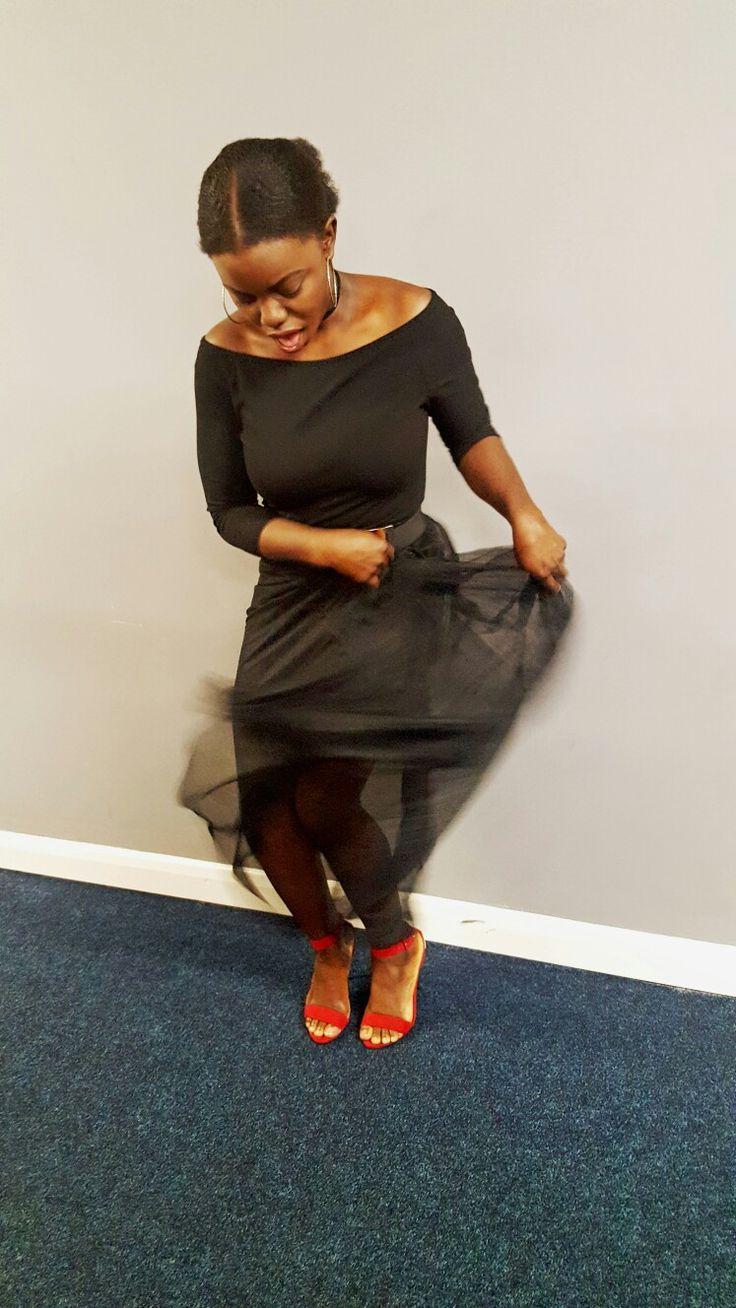 party outfit #party #blackskirt #longskirt #seethroughskirt #netskirt #redshoes #opentoesandals #opentoeshoes #blackonblack #blackgirl #browngirl #sty…