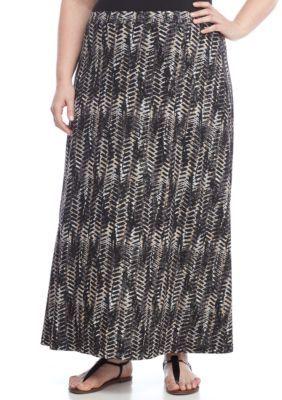 Kasper Women's Plus Size Printed Maxi Skirt - Clay Multi - 2X