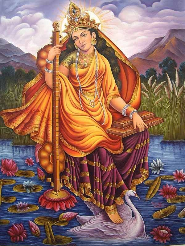 """Saraswati,"" is composed of two Sanskrit words – ""sara,"" meaning ""flow"" (as in ""Anusara"" – ""stepping into the flow of grace"") and ""wati,"" meaning ""woman."" She is the goddess of knowledge, music, and the arts, and as such is the ultimate conductor of flow or vehicle of creativity."