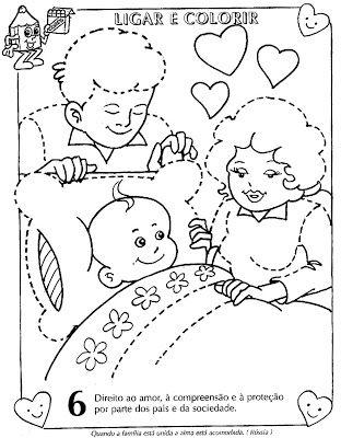Colorir Desenhos sobre Direitos e Deveres da Criança - Mundinho da Criança - Atividades para Educação Infantil