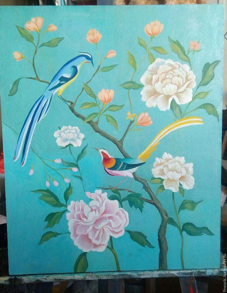 Купить Райский сад - бирюзовый, шинуазри, райская птица, райские птицы, райский сад