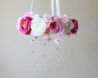 Flower chandelier Baby flower mobile Floral by PaulettaStore