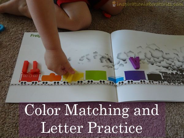 Color matching and letter practice using the book Freight Train by Donald Crews