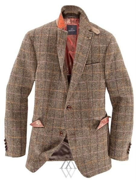 Клетчатый твидовый пиджак с заплатками