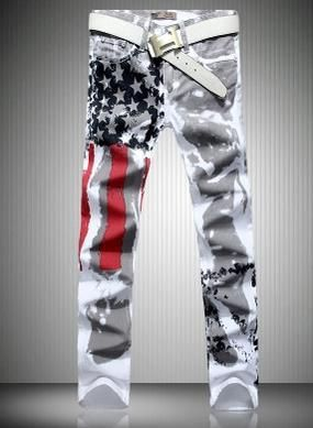Spike ! Original pure cotton white European style fashion painted slim Flag distrressed jean men pants mens designer true jeans - My Crazy Specials My Crazy Specials