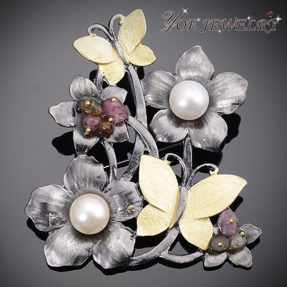 Черный пистолет покрытием старинные цветок и бабочка брошь пен ювелирные изделия в стиле кантри мода перл букет брошь подвеска аксессуары.