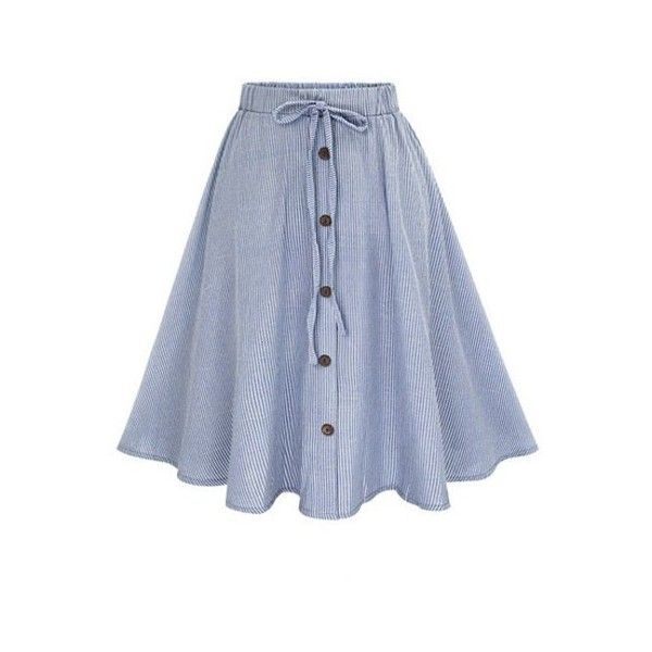 Pinstripe Button Bowknot A Line Skirt (£13) ❤ liked on Polyvore featuring skirts, rosegal, knee length a line skirt, blue a line skirt, a-line skirt and blue skirt
