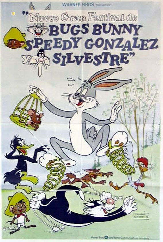 """BUGS BUNNY SPEEDY GONZALE SILVESTRE"" MOVIE POSTER - ""THE SYLVESTER & TWEETY, DAFFY & SPEEDY SHOW"" MOVIE POSTER"