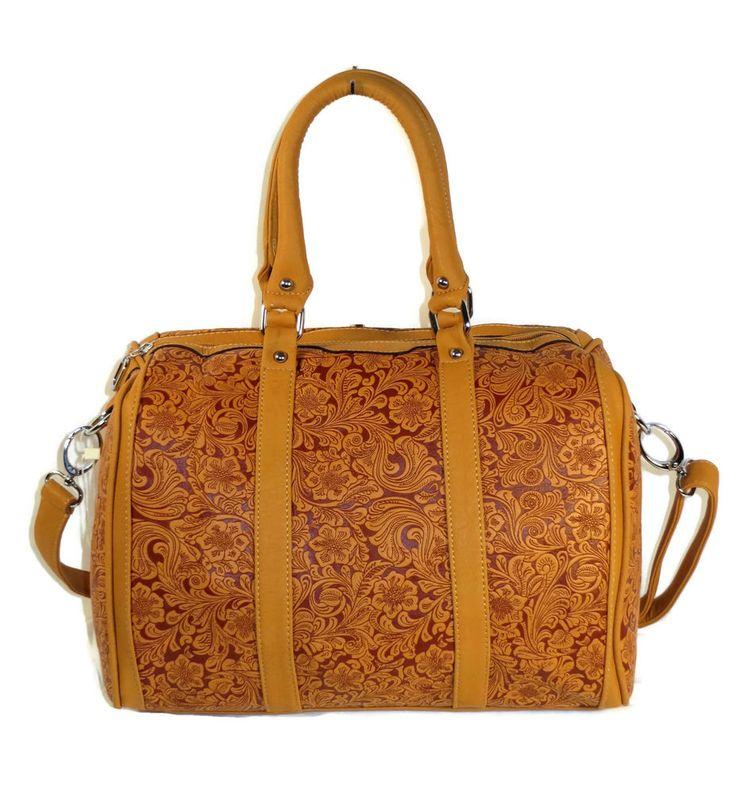 An eye-catching designer inspired handbag with a western flair.  Designer Inspired Handbag Bag Purse Large 2Way Embossed Floral Western