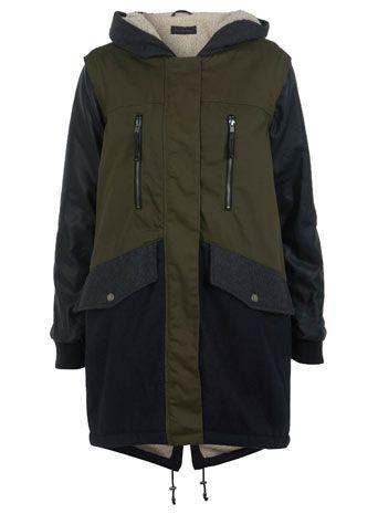 Colour Block Parka Jacket - Coats & Jackets  - Apparel