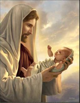 """""""In His Constant Care"""" by Simon Dewey. This picture reminds me of my precious grand daughter, Elise, who had heart surgery just days after she was born. I'm certain the Savior was with her to comfort her when we couldn't be!"""
