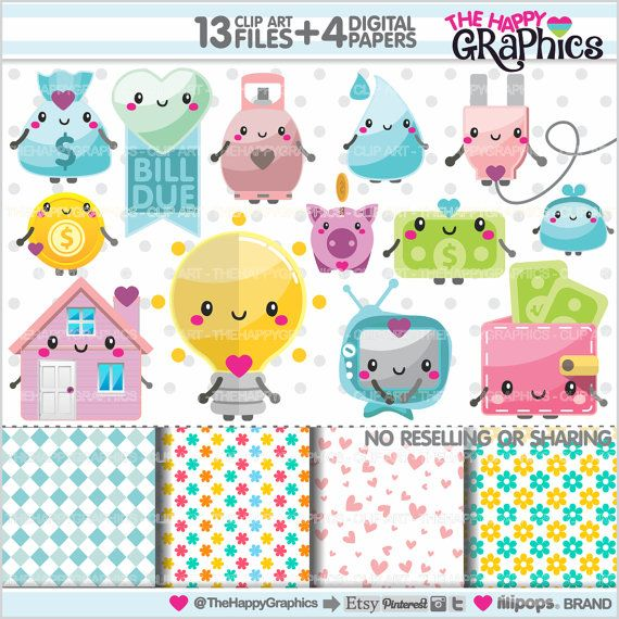 Bill Due Clipart, Bill Due Graphics, COMMERCIAL USE, Kawaii Clipart, Planner Accessories, Bill Clipart, Bill Graphics, Utility Graphics