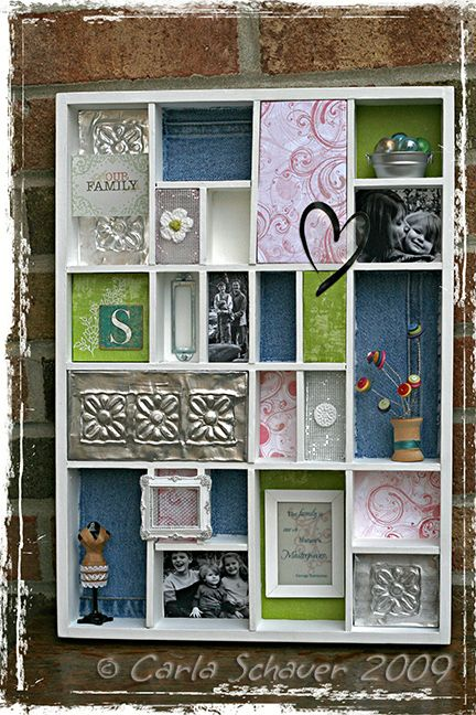 upcycle a shadow box into an awesome memory box decor piece #recycle. I even have a shadow box just waiting for this craft. :-)