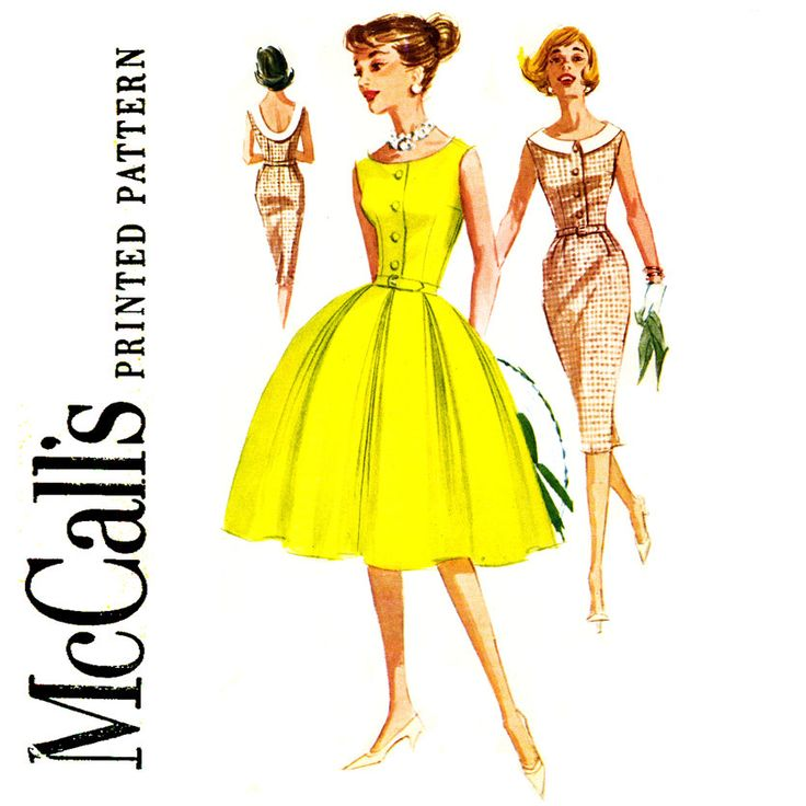 1960s Dress Pattern Bust 36 McCalls 5889 Fit and Flare Full Slim Sheath Skirt Cocktail Party Dress Low Back Womens Vintage Sewing Patterns by CynicalGirl on Etsy