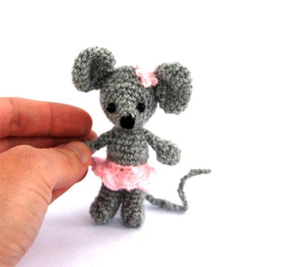 miniature mouse stuffed ballerina mouse by tinyworldbycrochAndi, $18.82