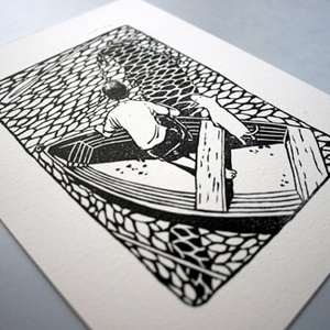 Kelly Dyson, Adrift linocut. Love the water in this.