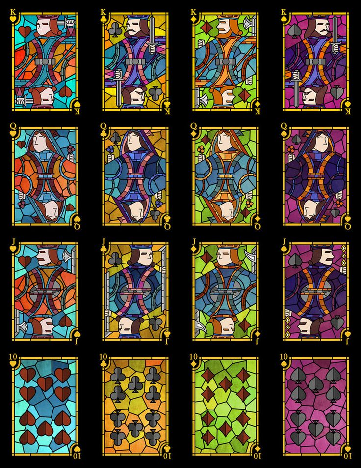 Stained Glass Playing Cards by Undefined Knowledge.  Image of Stained Glass Playing Cards