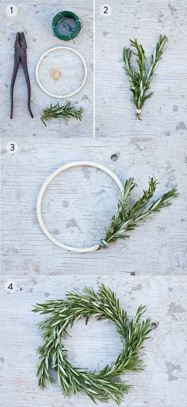 Make miniature rosemary wreaths. | 21 Ways To Decorate A Small Space For The Holidays