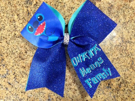 Cheer Bow Stitch Ohana Means Family by PinkOutsideTheBow on Etsy, $15.00