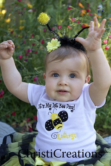 Bumble Bee 1st Birthday Onesie Personalized by ChristiCreations, $24.00