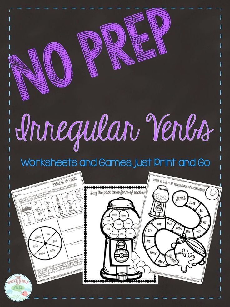 Speechie Freebies: No Prep Irregular Past Tense Verb FREEBIE! Pinned by SOS Inc. Resources. Follow all our boards at pinterest.com/sostherapy/ for therapy resources.