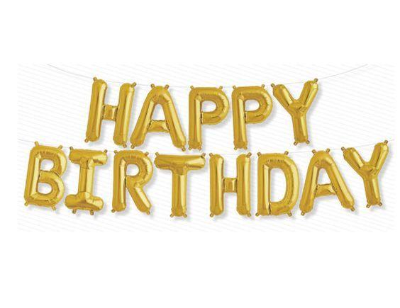 Happy Birthday Gold Balloon Kit - Foil Balloon - 16 inches - 40cms - Birthday Party - Air Balloon - Ready to Ship.