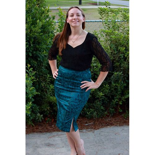 Wardrobe By Me Haute Skinny Skirt Sewing Pattern - The Haute skinny Skirt is a fitted high waisted skirt with an invisible zipper in the center back seam. The pattern is designed without a side seam, and has a shaped waistband.   ::  £8.00