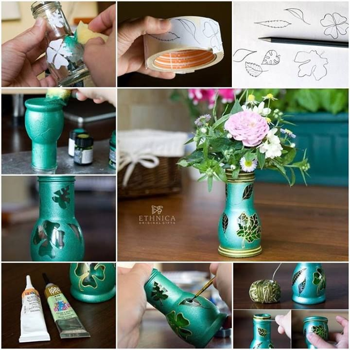 Beautiful vase made from glass bottle beautiful jars for How to make flower vases out of wine bottles