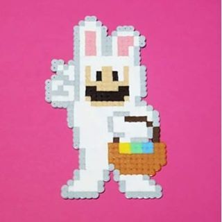 Easter bunny Mario perler beads by pixelwill