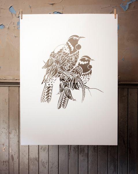 TUI RUA IN THE CUT | Hand Cut Stencil Work $1800 (frame incl) | Flox.co.nz
