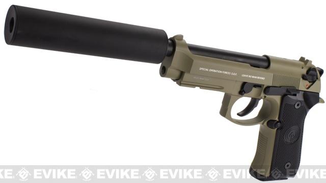 Socom Gear WE Full Metal M9A1 SOF Desert Combat w/ Gemtech Trinity Airsoft Mock Silencer