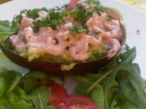 gevulde avocado met garnalen van Marcel