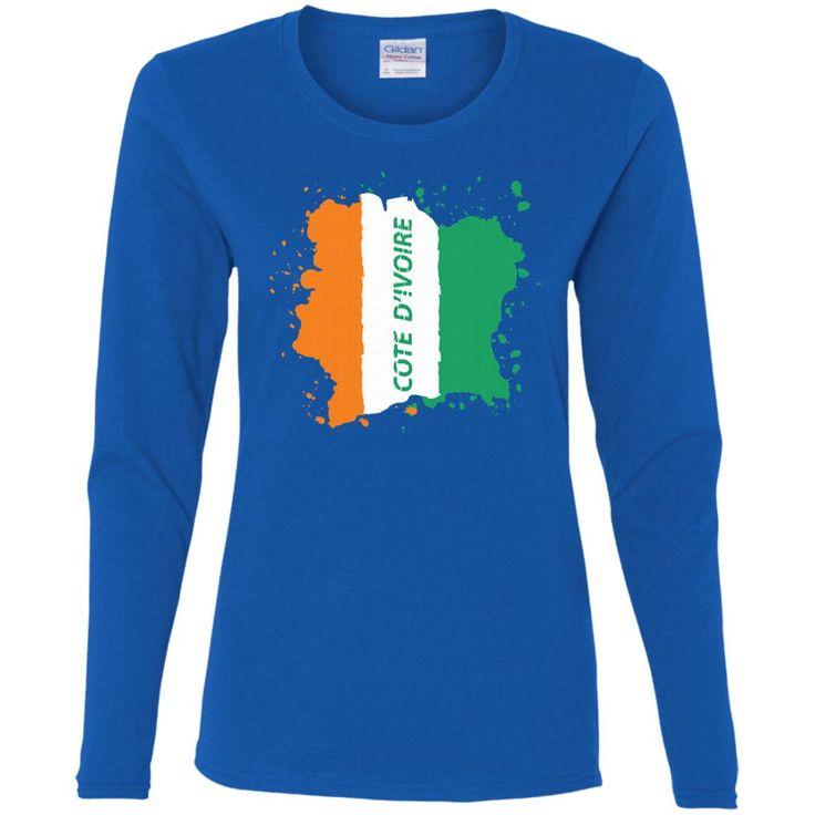 Ivory Coast Coat Of Arms T Shirt National Cote d'Ivoire-01 G540L Gildan Ladies' Cotton LS T-Shirt