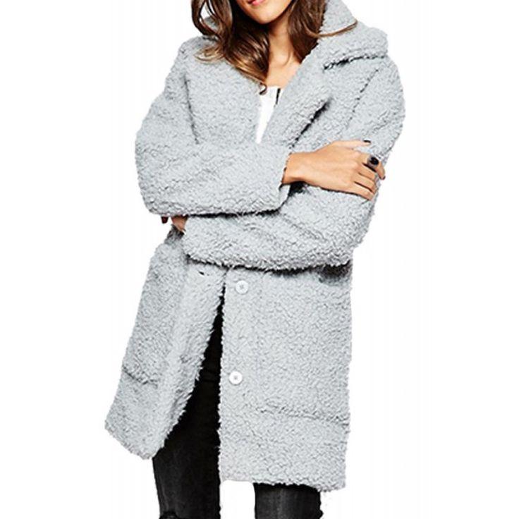 Palton Dama NOISY MAY Teddy Coat High-Rise
