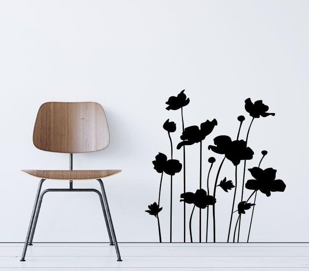 VÄGGDEKOR blommor siluett 4