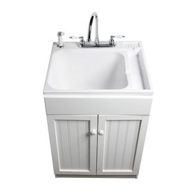 ASB 25-in x 22-in White Freestanding Composite Laundry Utility Sink with Faucet