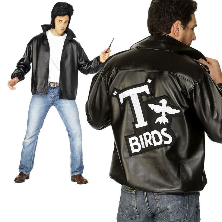 Adult Grease T-Bird 1950 Dressing Up Costume Outfit Party Male Jacket Rock N Rol