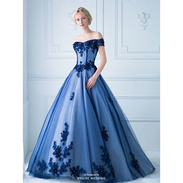 Blue quinceanera dresses ❤ liked on Polyvore featuring dresses, blue day dress, blue dress and ball dresses