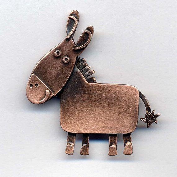Little Donkey copper finish brooch