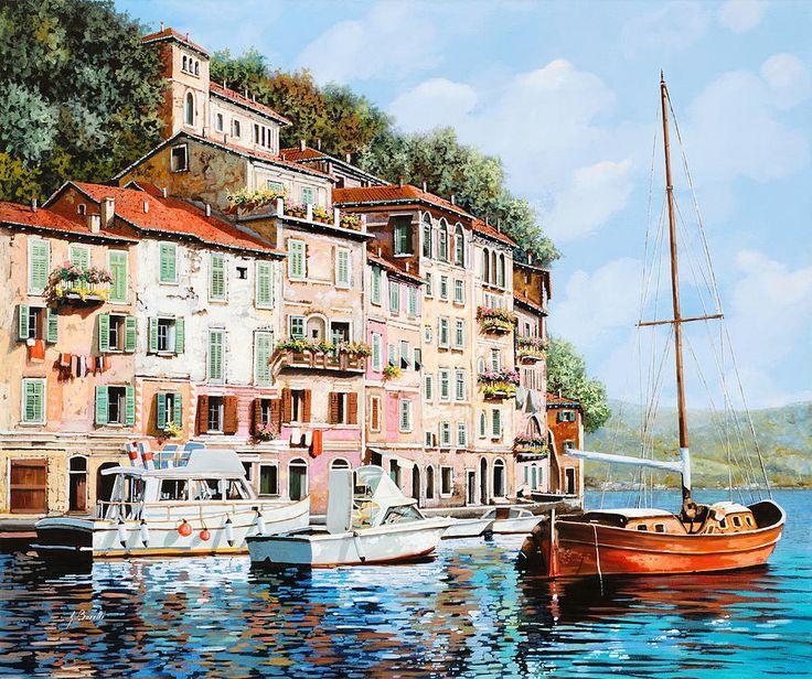 La Barca Rossa Alla Calata Painting  - La Barca Rossa Alla Calata Fine Art Print, Нике нарисовать