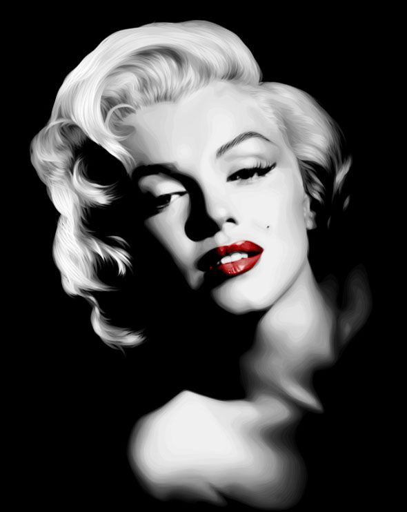 Marilyn Monroe........LOVE THIS BLACK AND WHITE WITH ONLY THE BRIGHT-RED LIPSTICK FOR COLOR........SHE WAS SO PRETTY.......HARD LIFE .........ccp: