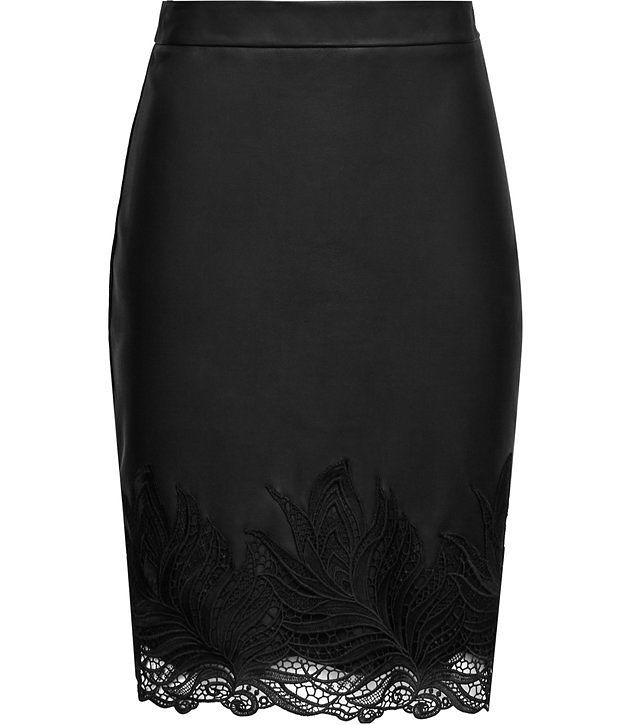 Riviera Black Leather And Lace Pencil Skirt - REISS
