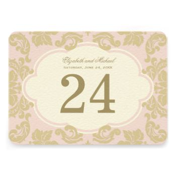 Elegant and formal double-sided table number card features an antique gold monogram of the bride and groom's names and wedding date, framed by a rose pink and champagne gold damask flourishes. PLEASE NOTE: this is an individual table number card. You must personalize and add one of each table number card needed to your shopping cart, one by one. #wedding #vintage #damask #old #hollywood #glamour #elegant #frame #flourish #regal #glamorous #glam #fancy #theme