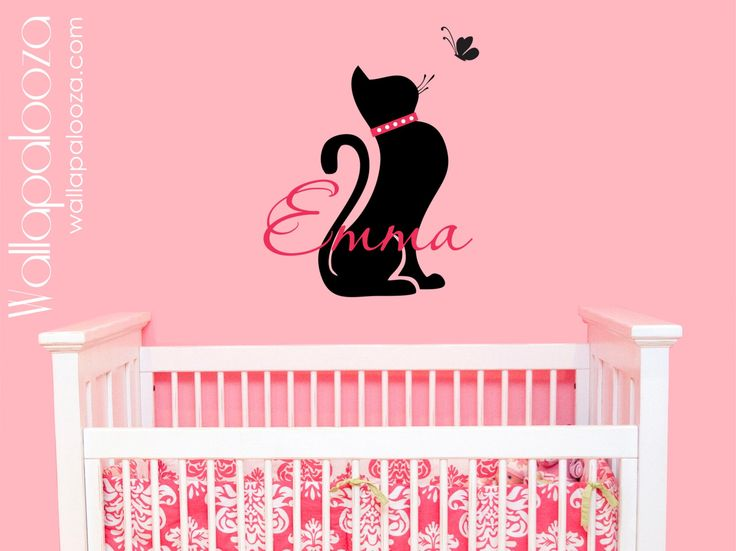 Cat wall decal - girls name wall decal - custom name wall decal - cat wall sticker - cat silhouette by WallapaloozaDecals on Etsy https://www.etsy.com/listing/163184776/cat-wall-decal-girls-name-wall-decal