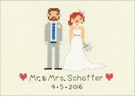 dimensions bride and groom wedding record cross stitch kit cross stitch kit featuring a